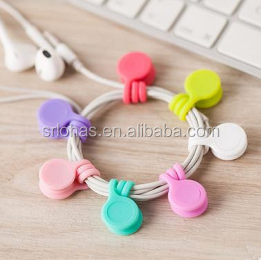 Cheap USB Earphone Fancy Silicone Rubber Magnet Cable Clip Organizer