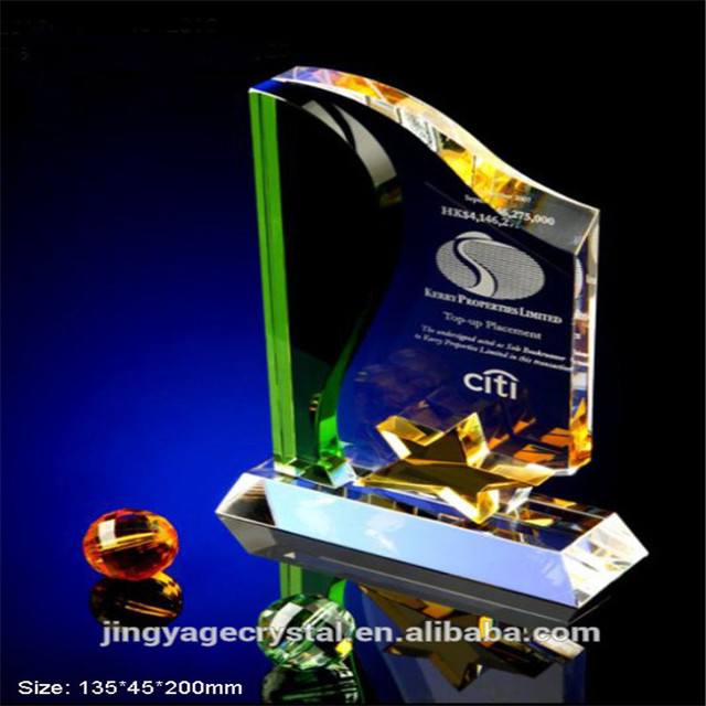 Custom Engraved Crystal Award Plaque with Clear Base