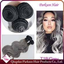 2015 Aliexpress Hot Sale 16 Inch White Hair Extensions Grey Human Hair Weaving