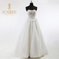 Newest A Line 2016 Wedding Dresses Floor Length Off Shoulder Sheer Tulle Appliqued 3D Beaded Bridal Gowns