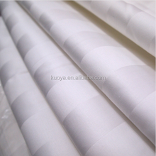 Satin Stripe White Cotton Hotel/Hospital Use Fabric For BedSheet 3CM width