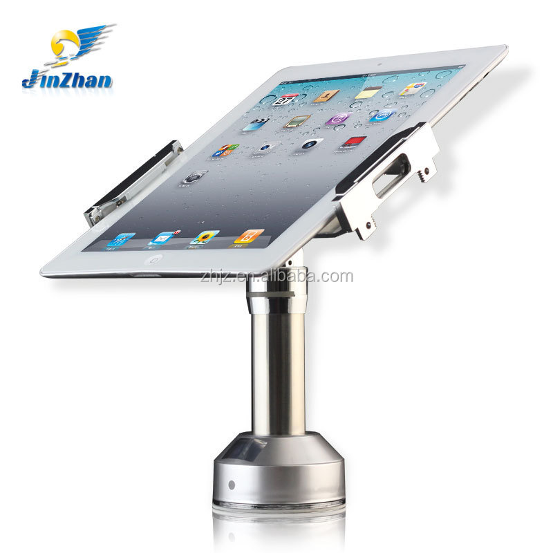 Adjustable clamp anti-theft holder with lock 360 degree rotation and chargable android tablet kiosk stand