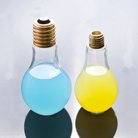 Customized Logo beverage light bulb shape glass bottle jar container