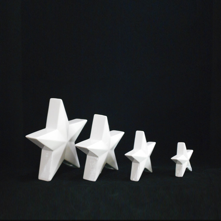 Wholesale Personalized Christmas Ornaments Unique Shaped White Ceramic Christmas Star