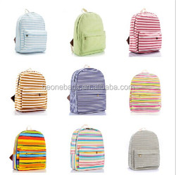 Chinese fashion strip-type canvas backpack for teenagers