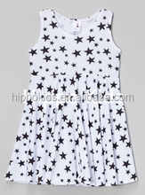 Wholesale black white stars dress fancy dresses for girls kids cotton frocks design girls dress