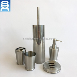 High Quality 6 Pieces Soap Dispenser Toilet Brush Holder bath accessories Stainless Steel Bathroom Set