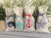 Personalized burlap nautical mini wine bottle bags for gift or present