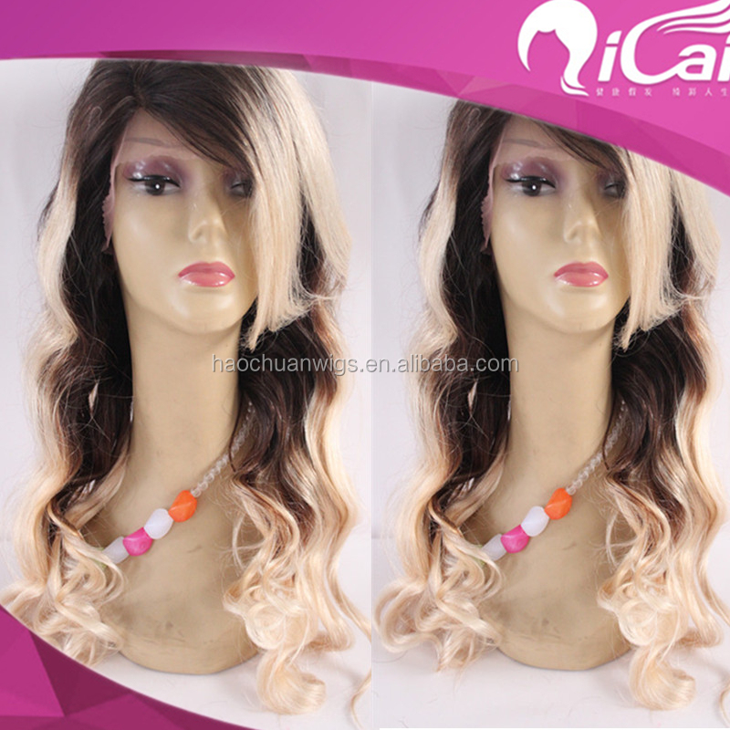factory wholesale lace front wig brazilian virgin remy human hair 1b T 613 Blonde full lace wig