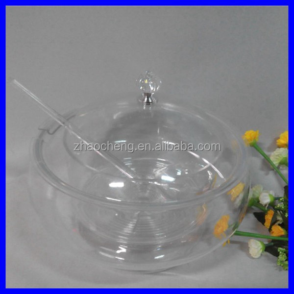 2015 New product transparent round acrylic container with lid and spoon