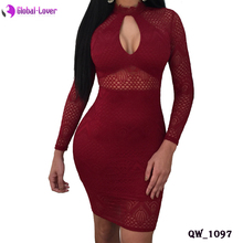 2018 long sleeve red designer one piece sexy tight dress pron party dress