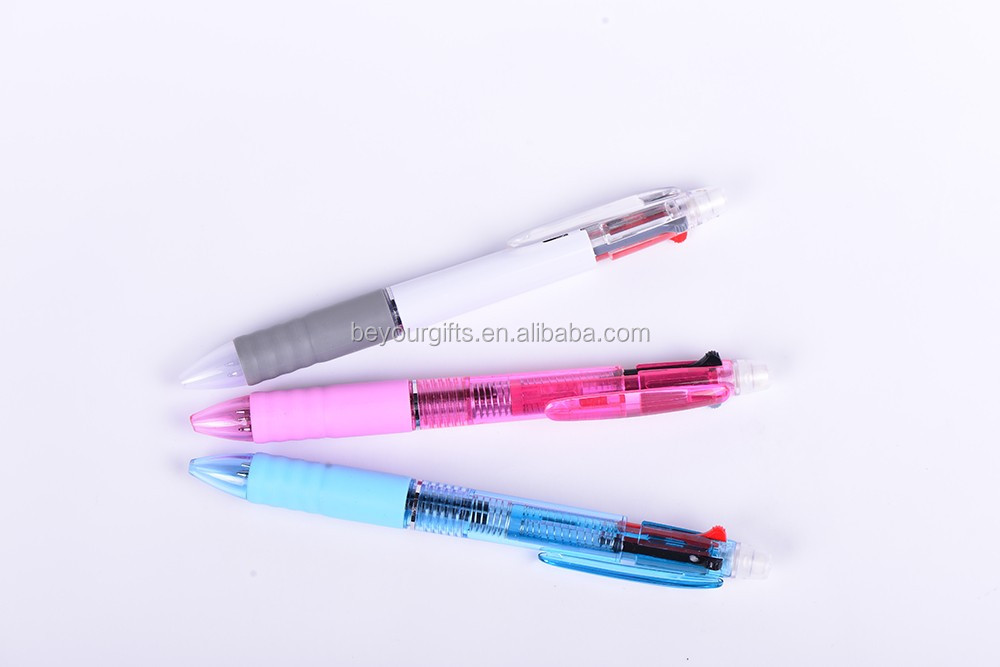Multi-function ball pen with rubber automatic pencil