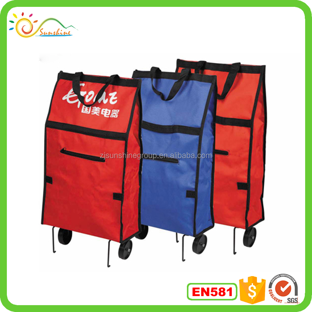 Wholesale cheap price easier carry folded shopping bag with wheels