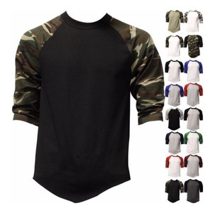 3/4 Raglan Camo Sleeve T Shirt Man Clothing Blank T Shirt Cheap Wholesale
