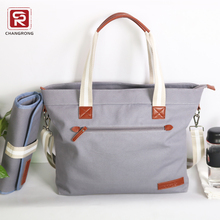 Fashionable canvas tote mother baby diaper bag with baby changing mat