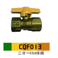 Yuhuan Manufacturing NPT 1/2 Inch Brass Ball Gas Valve Female Natural LPG Gas Ball Valve With CSA Certified