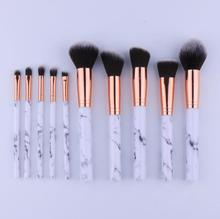Cosmetic Brushes New Arrival Private Label 10pcs Synthetic Hair Marble Handle MakeUp Brush Set For Sale