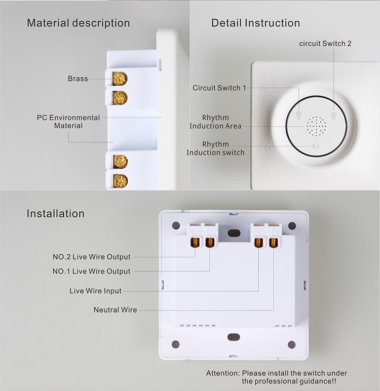 2017 Blablabla Electric home wall switch / smart home switch GX-SW01