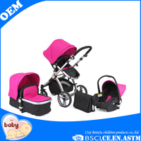 Aluminum Polyester Stroller 3 in 1 Baby Stroller with Carrying Cot and Car Seat