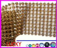 2013 latest conical shape plastic mesh plastic trimming 10 rows wide gold color