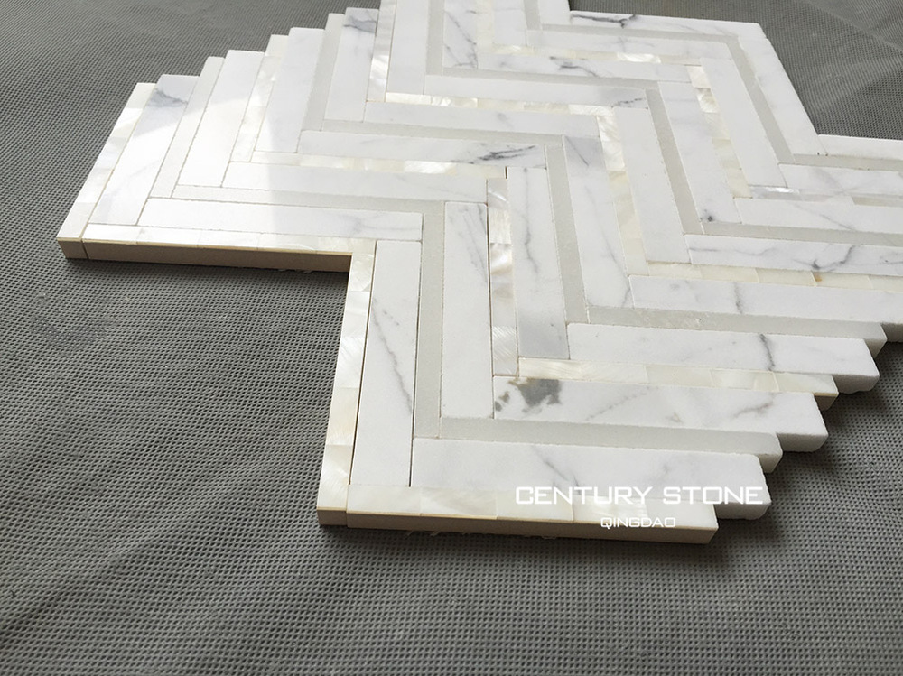 Calacatta Marble And Shell Herringbone Backsplash White Mosaic Tile