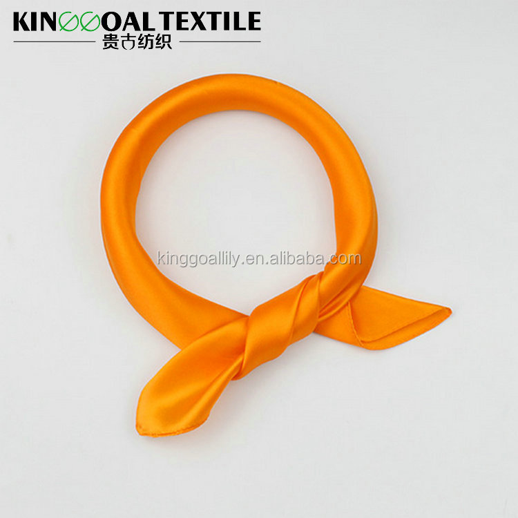 Popular square orange color 100% women silk scarf