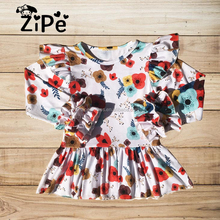 Wholesale Baby Flower Cotton Printing Children Girls Ruffle Tops Boutique Baby Clothes