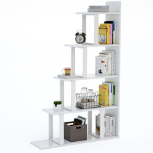 White wooden Tribesigns 5-tier wood Ladder Bookshelf modern open <strong>shelf</strong>