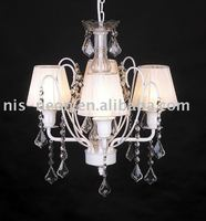 living crystal pendant light with lampshade