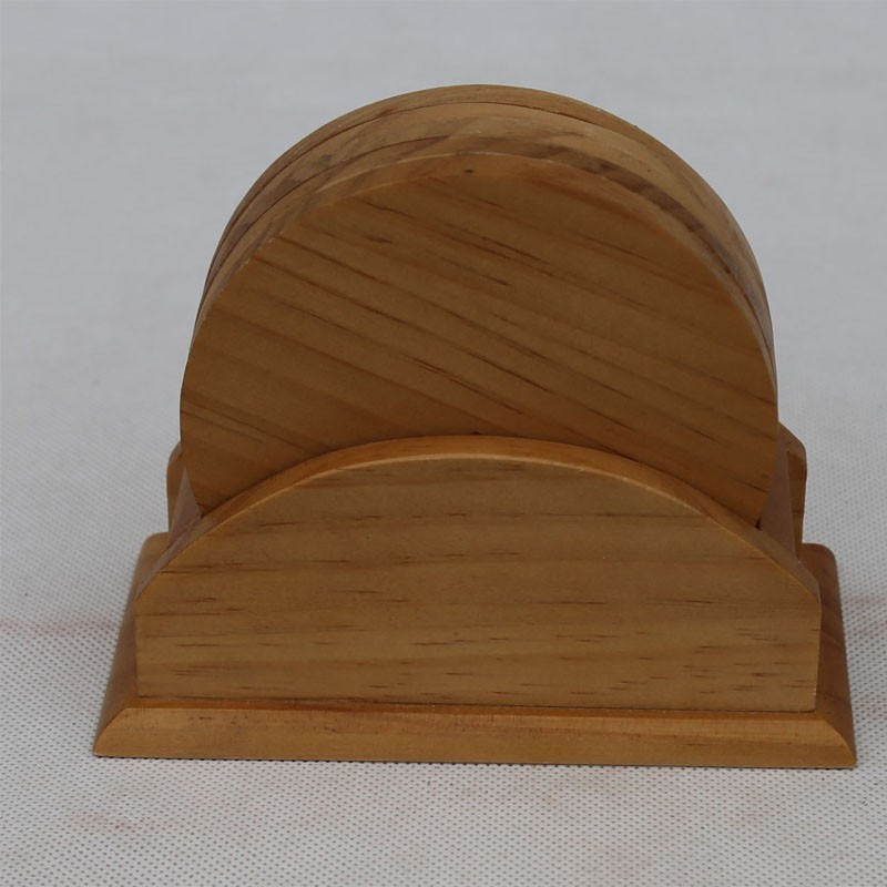 Set of 5pcs Bamboo Coaster Set with Bamboo Holder wooden coaster