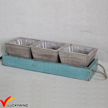 Country Shabby Wooden Plant Pot Tray Set