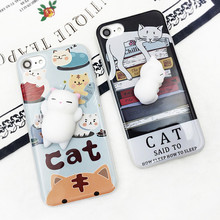 2017 3D cute soft silicon Squishy cartoon animals Cute cat phone case back cover for iphone 7