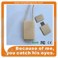 Factory wholesale necklace wooden/bamboo Pen Drive USB Flash Drive