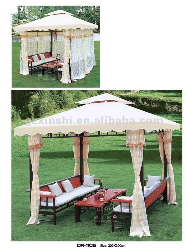 freizeitim freien eisen pavillon mit gaze set im garten. Black Bedroom Furniture Sets. Home Design Ideas