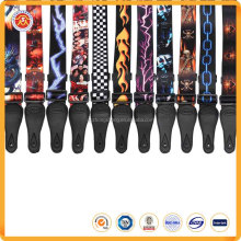 Wholesale adjustable heat transfer printing thicken nylon leather guitar straps for guitars