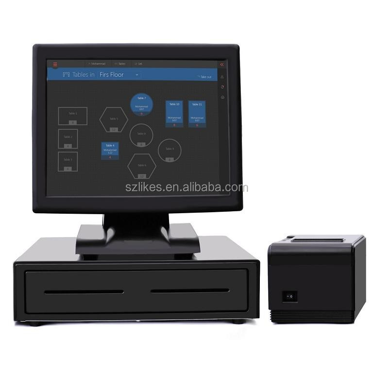 LKS-TM15B 15 inch touch screen monitor with big stable all in one pos base