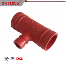 FM UL approved ductile iron Grooved Reducing Tee for fire fighting