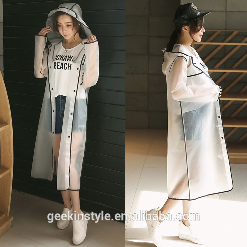 EVA raincoat wholesale room environmental protection peva/eva/pe recyclable printed white rain poncho