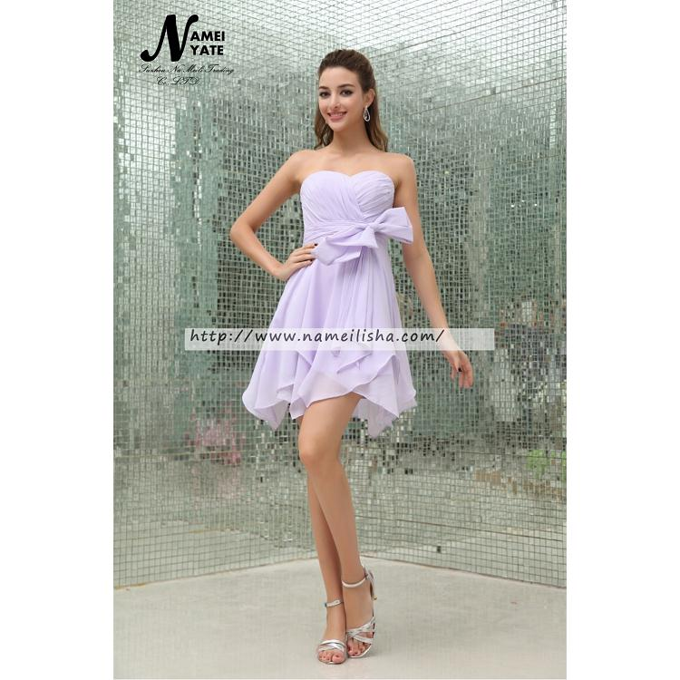 2017 Cute Lavender A Line Sweetheart Backless Mini Short Sleeveless Cocktail Gowns Ruffles Bridesmaid Dresses Homecoming Dress