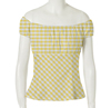vintage gingham designs girls sexy off shoulder yellow white plaid tops for wholesale