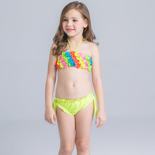 HT-LGS custom kids wear bikini beachwear Printed Palm Leaf Latest Fashion Hot Brazil Young Girl Sexy Bikinis