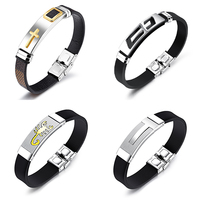 Hot selling stock stainless steel cross charms silicone wristband silicone bracelets for men