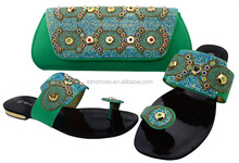 New Coming Teal African Slipper Shoes And Purse Bag /Rhinestones Shoe And Bag Set/Lady Evening Dress Shoes BCH-37