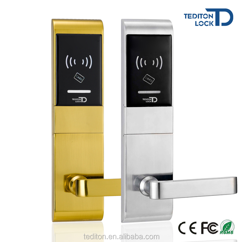 Chrome Electronic Keyless door lock outdoor with RFID card for hotel
