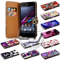 china wholesale wallet stand printed pu leather flip back cover case for sony xperia z1