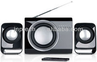 Black Cute wooden subwoofer 2.1 speaker with FM and remote control