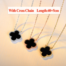 Korean style choker necklace, Four leaf clover pendant sterling silver jewellery, Black agate stone charm necklace jewelry