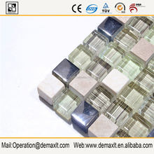 Gold rose stainless steel metal mix shell glass mosaic tile