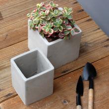 decorative square shape concrete cement garden gnome flower pots for wholesale