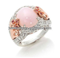 2013 Fashion Pink Opal Diamond Ring,Unique 24k Gold Plated Silver Jewelry